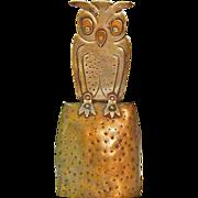 REDUCED Goberg Owl Bell, Jugendstil,Hand Hammered in Germany