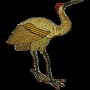 SALE Victorian Heron  Applique, Textile