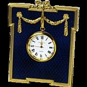 SOLD Cobalt Blue Guilloche Enamel Clock, Kitney & Co , London 1992