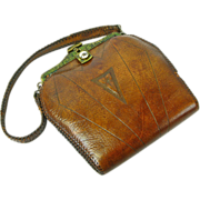 SOLD Signed Meeker Purse, Tooled Leather,  Arts and Crafts / Art Nouveau, Ca. 1920's