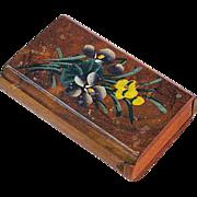 Souvenir Floral Painted Olive Wood Snuff Box, San Raphael, France, Ca.  1900's