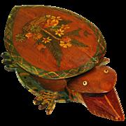 Folk Art Painted Turtle Bank