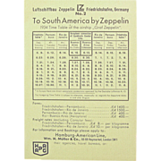Graf Zeppelin Flight Timetable & Shipping Rates, South America, 1934