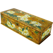 Flemish Art Painted Daisies Glove / Handkerchief Box, Ca. 1900's