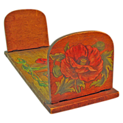Pyrographic Paint Decorated Expanding Book Rack w/Poppies, Ca. 1910