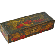 Signed Dated Pyrographic Cherry Decorated Glove Box, 1910