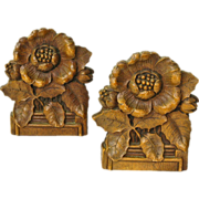 Syroco Leafy Floral  Bookends, Ca. 1930-40