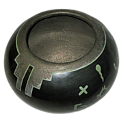 SALE Green-on-Black Hand Made Pot by Than Tsideh, Native American San Ildefonso