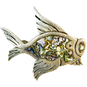 SALE Sterling Signed  Silver & Abalone Fish Pin, Tasco, Mexico
