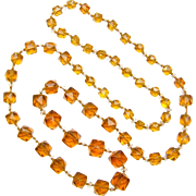 Vintage Czech Amber Colored Glass Cube Necklace,  Extra Long