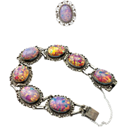 "Offers Considered! Signed ""ArtPlat"" Mexican 925 Silver Bracelet and Ring, Dichroic Glass C"