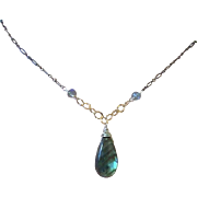 SALE Labradorite Silver Necklace Solitaire Mixed Metals Camp Sundance Gem Bliss
