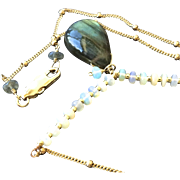 SALE Labradorite Opal Necklace, Gold fill pendant, Camp Sundance, Gem Bliss