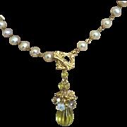 SALE Carved Lemon Quartz Pendant, Bridal Pearl Necklace Gem Bliss