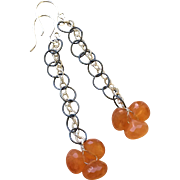 SALE Orange Chalcedony Sterling Drop Earrings by Gem Bliss