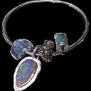 SALE Amazonite, Drusy Bracelet, Silver Bracelet, Charms Bracelet, Labradorite, Silver bangle .