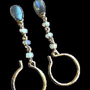 SALE PENDING Opal Earrings, Labradorite Earrings, Gold fill Hoops, Camp Sundance, Gem Bliss
