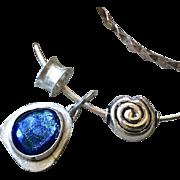 SALE Blue Dichroic Glass Bracelet, Silver Bracelet, Charms Bracelet, charms bangle, Silver ...