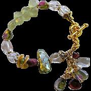 SOLD Tourmaline bracelet, Watermelon Tourmaline slice charms, Prehnite, Garnet charm bracelet,