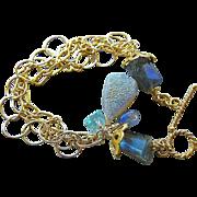 SALE Labradorite bracelet, mixed links charm bracelet, Drusy bracelet, Camp Sundance, Kyanite