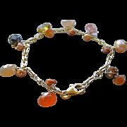 SALE Moonstone charm bracelet, Peach Moonstone, gemstone charms bracelet, Camp Sundance