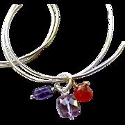 Silver bangle bracelets, Amethyst charm bangles, Carnelian Quartz charm bracelet, Camp Sundanc