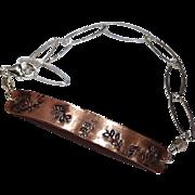 SALE Copper Bracelet, Layering bracelet, Stamped Silver bracelet, ID bracelet, Camp Sundance G