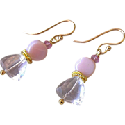 SALE Pink Peruvian Opal, Rose Topaz, drop earrings, Bridal, Rose Gold filled, Camp Sundance ..