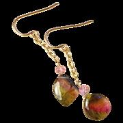 Watermelon Tourmaline earrings, 14K Rose Gold earrings, Tourmaline earrings, Camp Sundance gem