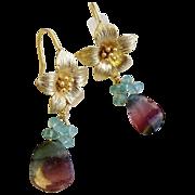 Tourmaline earrings, Watermelon Tourmaline  slices, flower hook earrings, Camp Sundance, ...