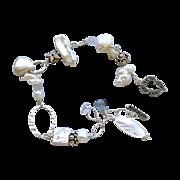 SALE Bridal Pearls bracelet, Silver Bracelet. Marcasite Labradorite charms, Camp Sundance, Gem