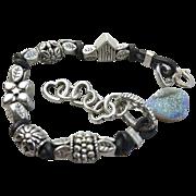 REDUCED Druzy Leather bracelet, Euro charms, bold layering bracelet, silver Camp Sundance jewe