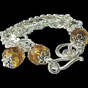 REDUCED Silver charm bracelet, 5 strand mixed links bracelet, golden Camp Sundance jewelry