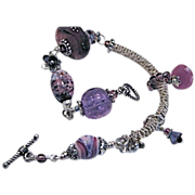 REDUCED Lampwork glass bracelet, Silver charm bracelet, unique, OOAK, Camp Sundance jewelry, .