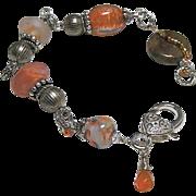 REDUCED Lampwork Silver bracelet, Glass Silver charm Bracelet, OOAK, Camp Sundance jewelry, Ge