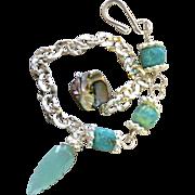 SALE Amazonite Abalone Silver layering bracelet adjustable charm bracelet Camp Sundance Gem Bl