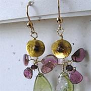 SALE Tourmaline, Botanical Earrings, Camp Sundance drop earrings Unique, Tourmaline drop ...