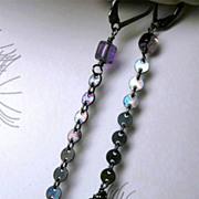 SALE Amethyst dark Silver drop earrings dangle Camp Sundance