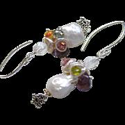 Baroque Pearl earrings, Silver Pearl earrings, Bridal Pearls, Amethyst, Camp Sundance, Gem Bli