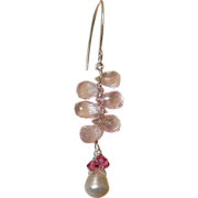 Rose Quartz Silver chandelier earrings, Pearl pink crystals, Camp Sundance jewelry, Gem Bliss