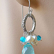 Aqua blue and genuine Pearls oval hoop on Silver designer earrings