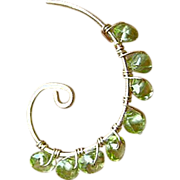 SALE Peridot hoops, Spiral earrings, Gold filled hoops, hand wrapped hoops, Camp Sundance, Gem