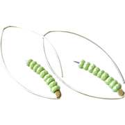 Green Gaspeite, golden hoop earrings, leaf hoop earrings, Camp Sundance, GemBliss