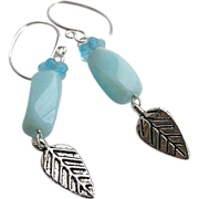 Peruvian Opal earrings, Designer Silver hooks, leaf charm, Camp Sundance, Gem Bliss