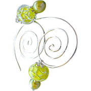 Silver spiral Hoops, Hoop earrings, Glass flower charms, Green Pearls, Camp Sundance, Gem Blis