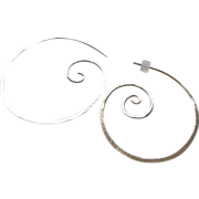 Silver Hoop earrings, Spiral Coil hoops, hammered, Camp Sundance, Gem Bliss