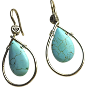 SALE Turquoise hoop earrings, Teardrop briolette earrings, Camp Sundance, Silver earrings, Gem