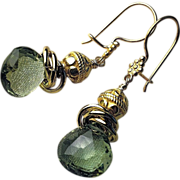 Green Topaz earrings, 18K Vermeil, elegance from Camp Sundance, Gem Bliss