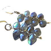 SALE Labradorite Earrings, Silver earrings, stormy nights, Spectrolite, hand wirewrap, Camp ..