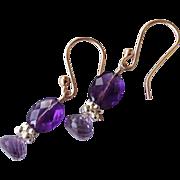 SALE Amethyst earrings, Rose Gold filled, Camp Sundance, Gem Bliss